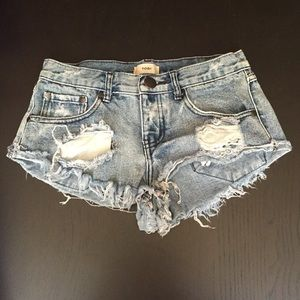Tobi Distressed Denim Shorts